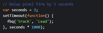 Facebook Pixel Code Sekunden Einstellung