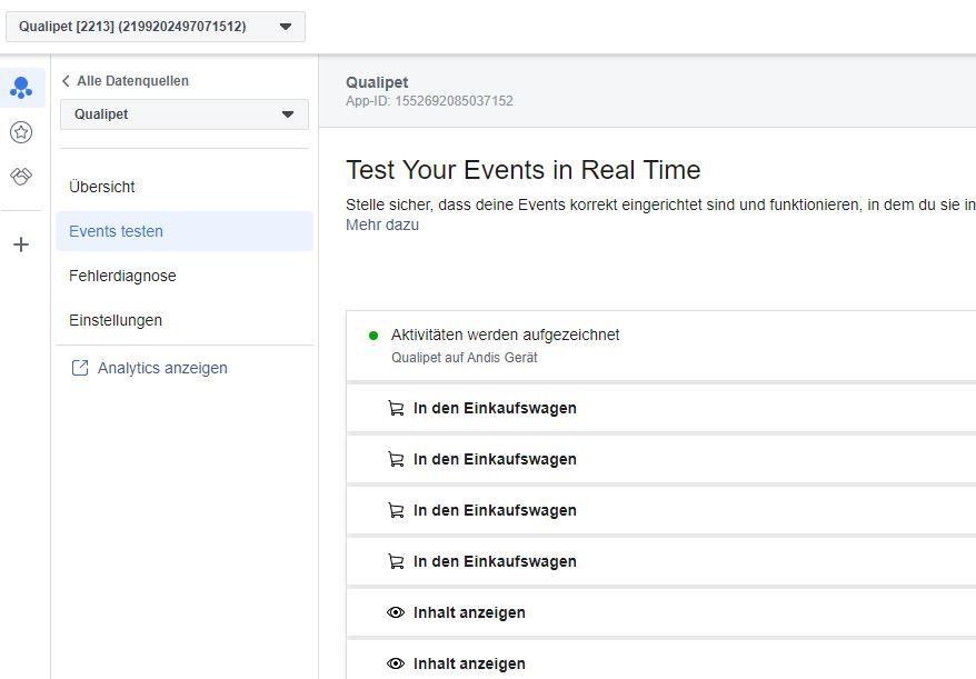 Facebook SDK: Events in Real-Time testen