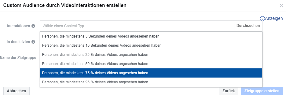 Facebook Audience Video Aufrufe