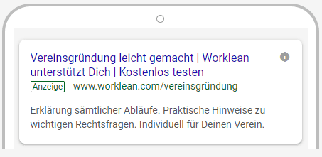 Google Anzeige von Worklean