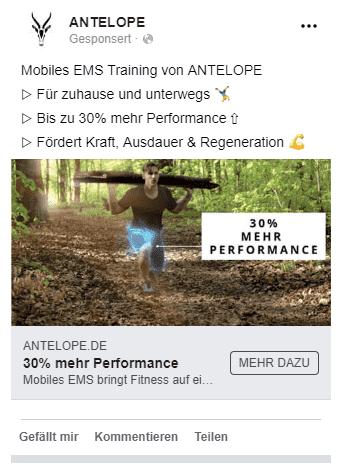 ANTELOPE Facebook Anzeige