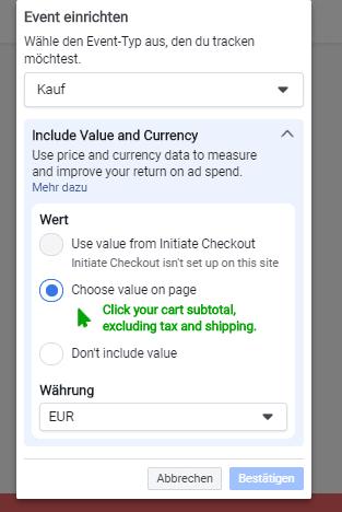 Event einrichten Facebook Pixel