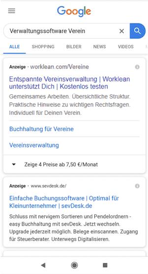 Google Ads Anzeigen Worklean