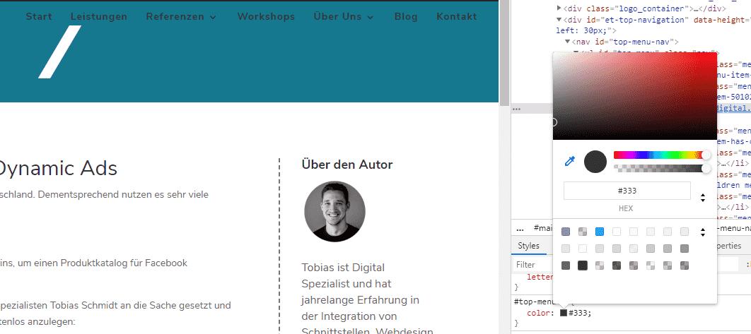 Farbe im CSS Attribut anzupassen