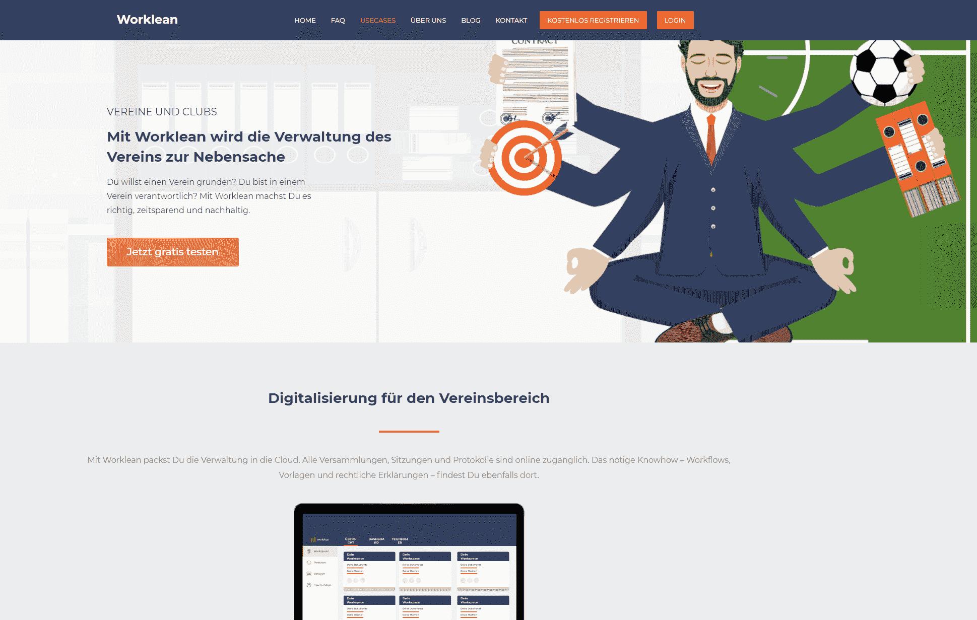 Die Kampagnen Landingpage von Worklean