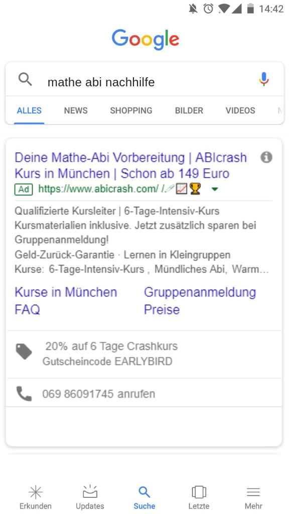 Google Ads Optimierung Beispiel Anzeige