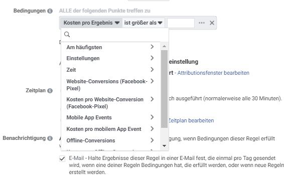 Facebook Bedingung von Aktivitäten