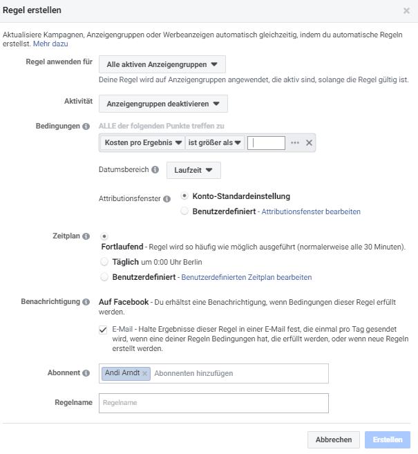 Facebook Anzeigengruppen Regel erstellen