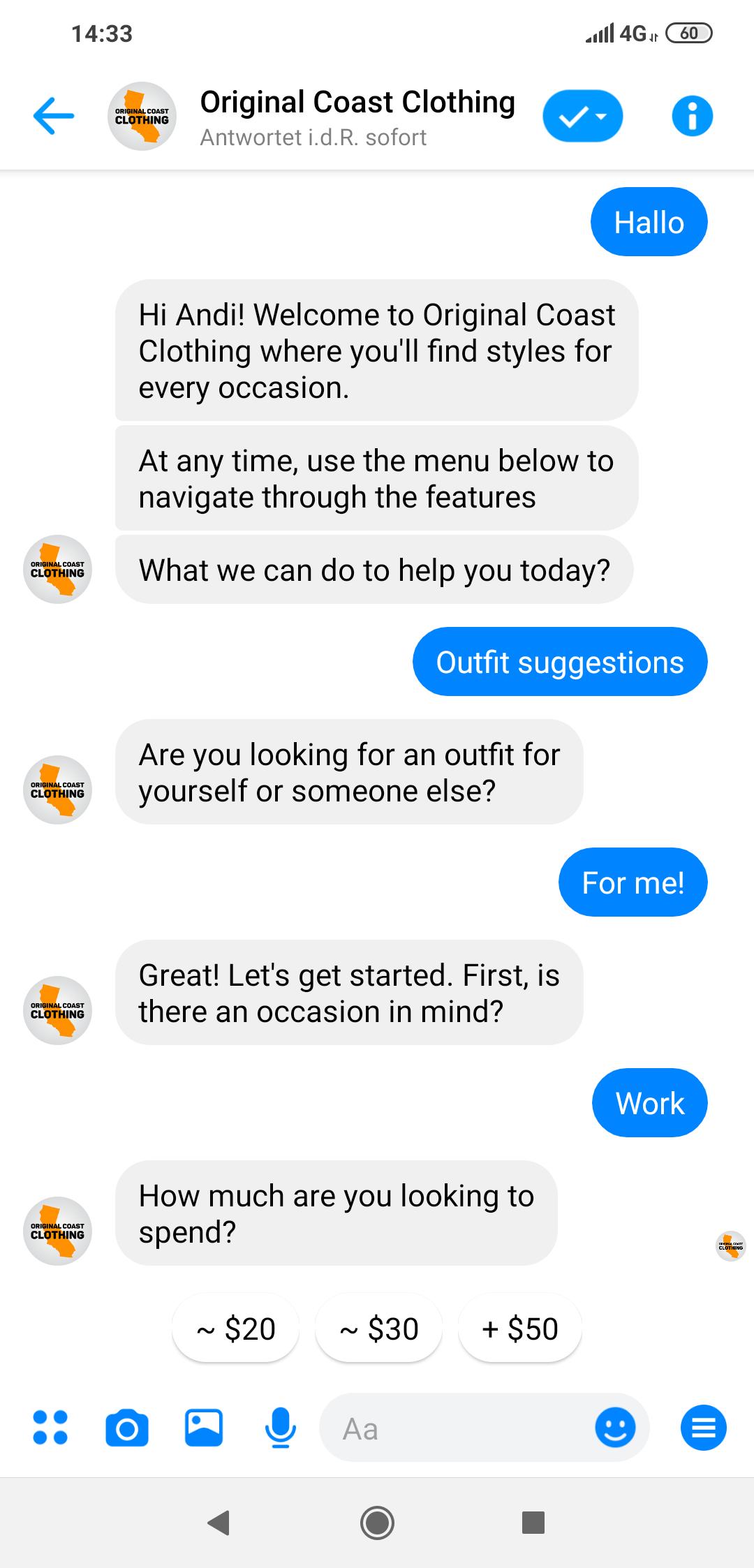 Beispiel für Facebook Messenger Bots