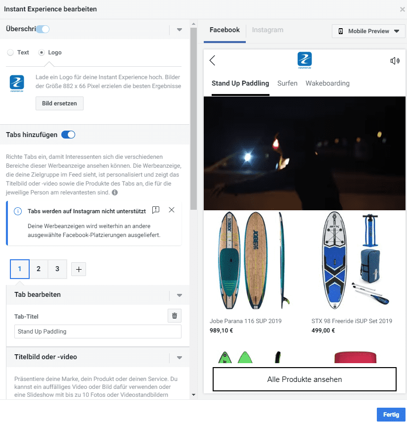 Facebook Instant Experience erstellen