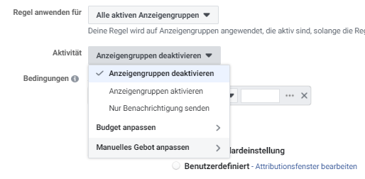 Facebook Anzeigengruppen Regeln nach Aktivität