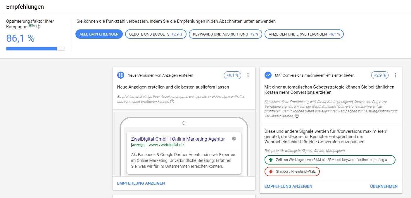 Google Ads Optimierungsfaktor