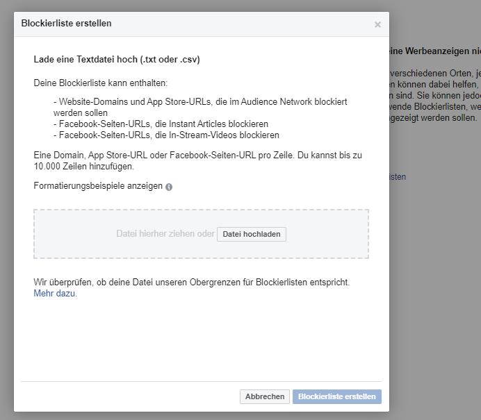 Facebook Blockierliste