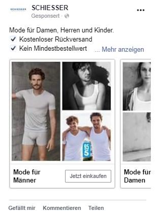 Karussellanzeige Facebook Beispiel