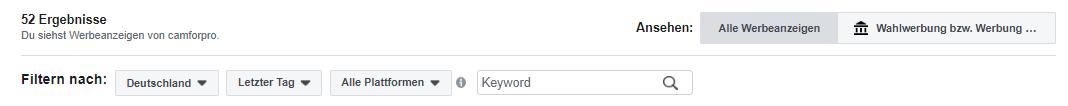 Facebook Platzierungen anschauen