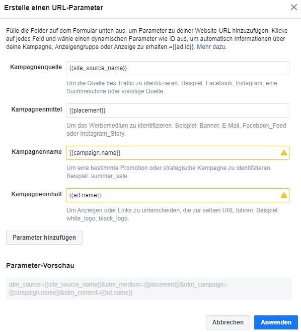 Facebook URL Parameter erstellen