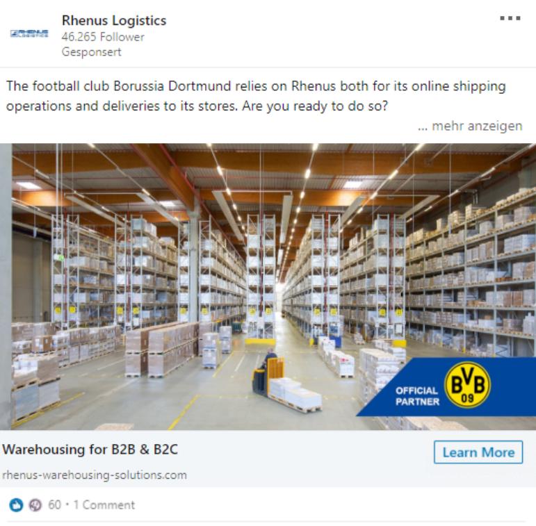 LinkedIn Lead Anzeige Beispiel