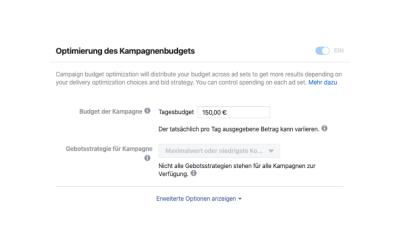 Facebook Kampagnenbudget Optimierung