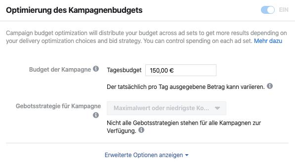 Facebook Kampagnenbudget einstellen