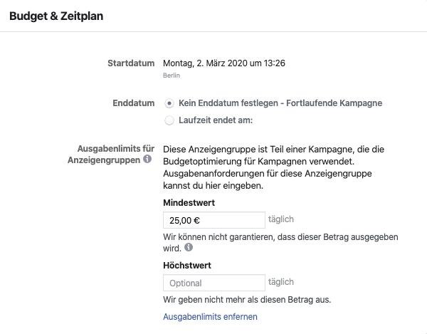 Facebook Kampagnenbudget Zielgruppen
