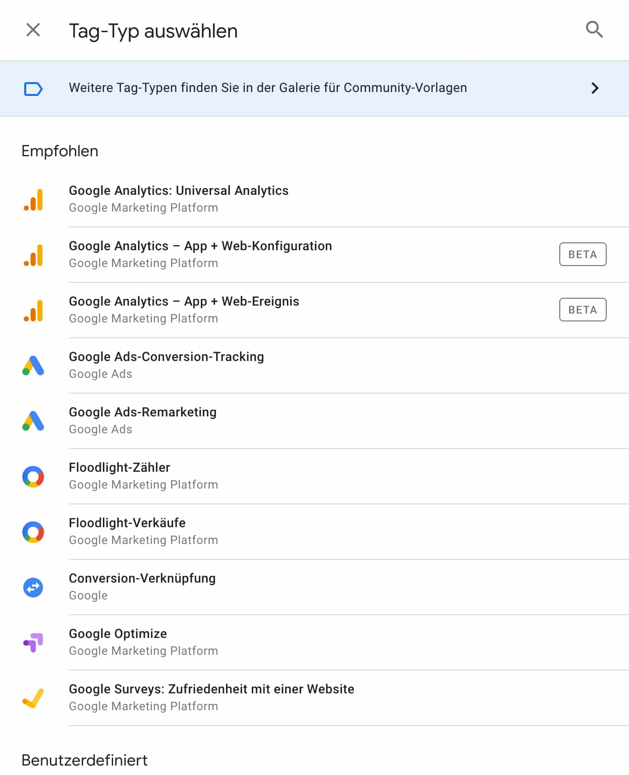Google Tag Manager Tag Typ auswählen