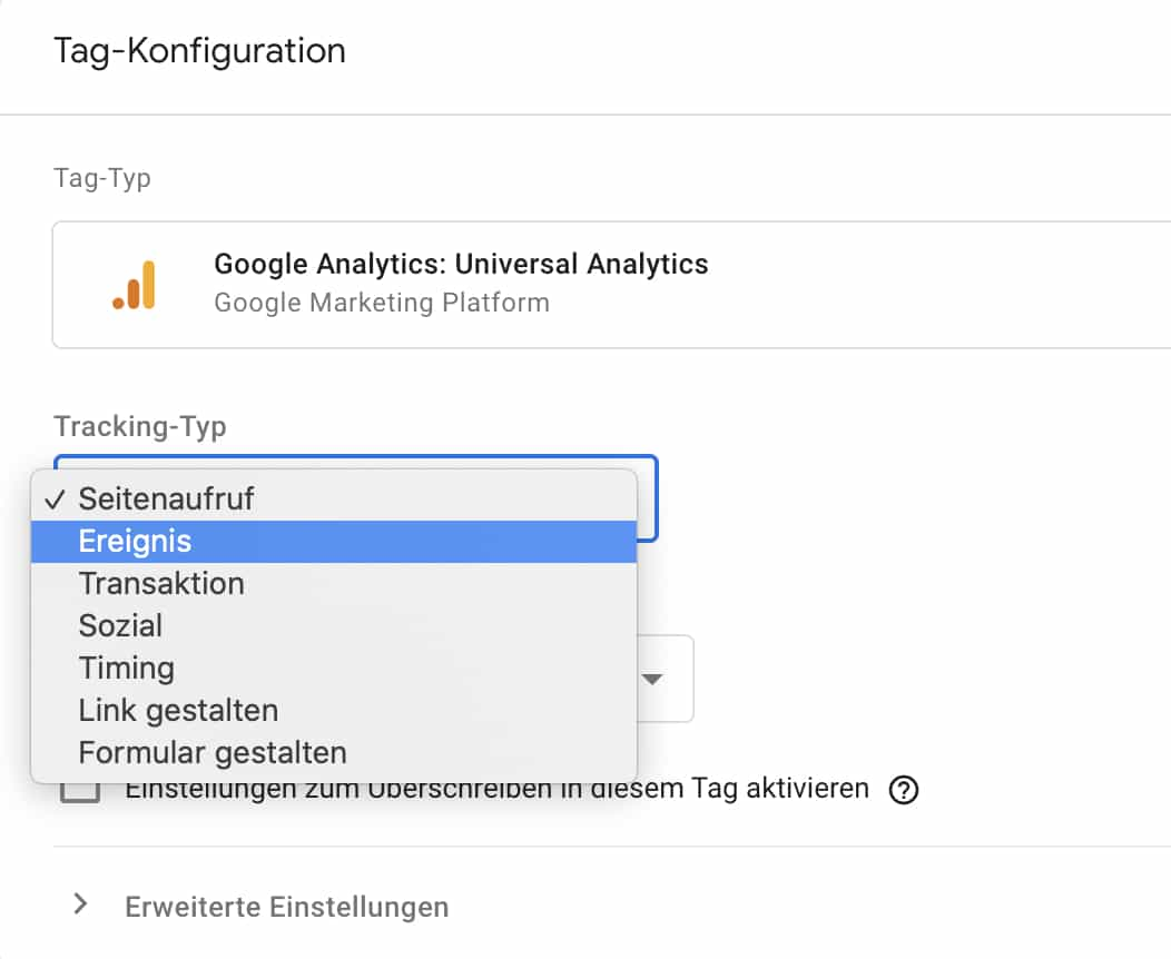 Google Tag Manager Tracking Typ auswählen