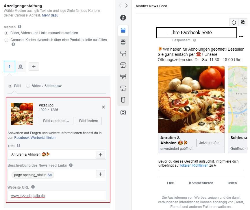 Lokale Facebook Werbung Store Traffic Anzeige