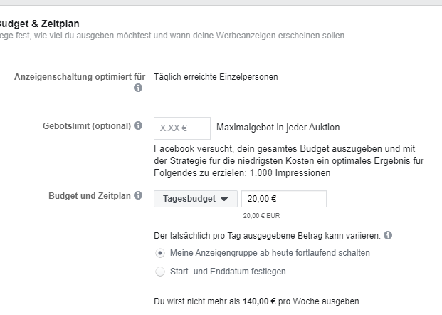 Lokale Facebook Werbung Store Traffic Budget