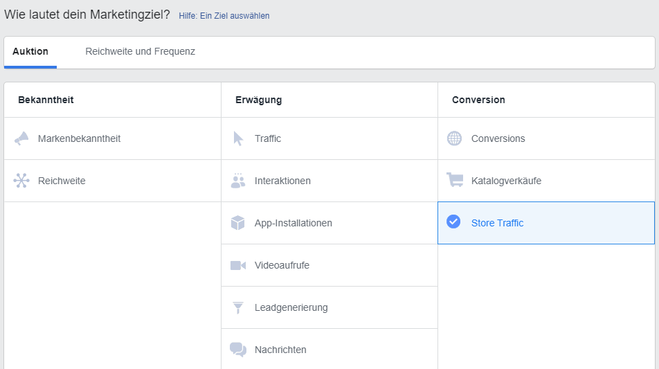 Lokale Facebook Werbung Store Traffic Kampagnenziel