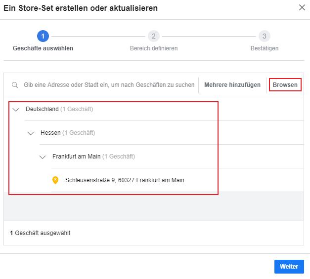Lokale Facebook Werbung Store Traffic Store Set