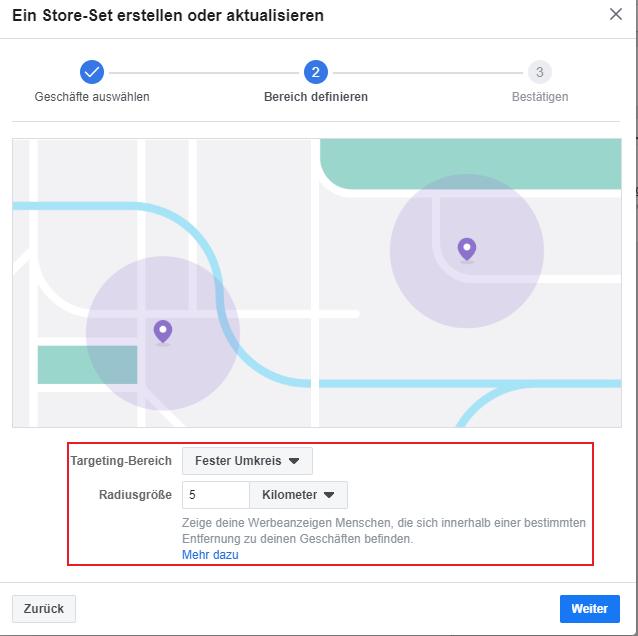 Lokale Facebook Werbung Store Traffic Targeting Bereich