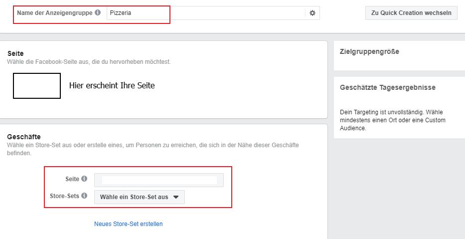 Lokale Facebook WerbungStore Traffic Store Einstellungen
