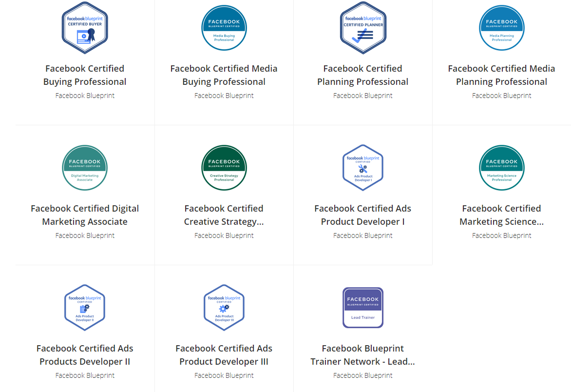 Übersicht Facebook Blueprint Zertifizierungen