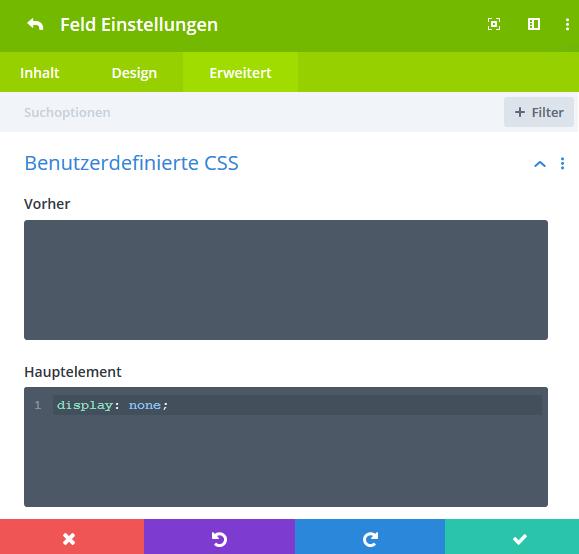 Formularfeld unsichtbar mit CSS