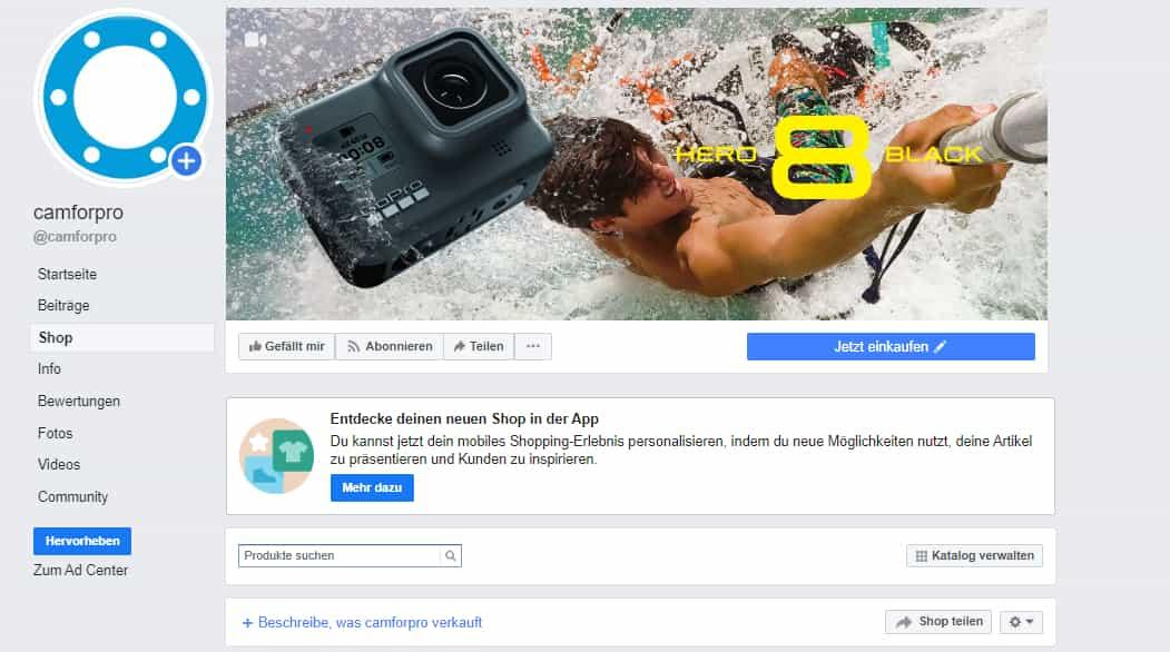 facebook shops beispiel