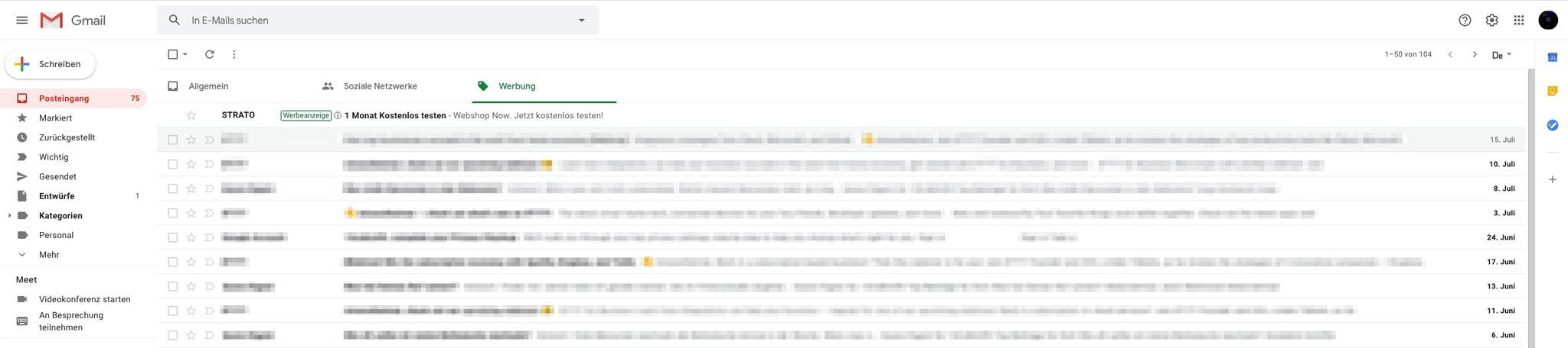 Gmail Werbeanzeige