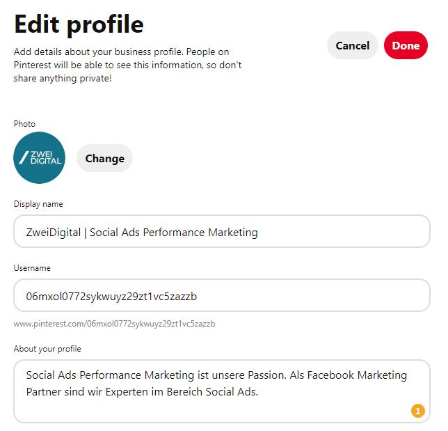 Pinterest Profil SEO