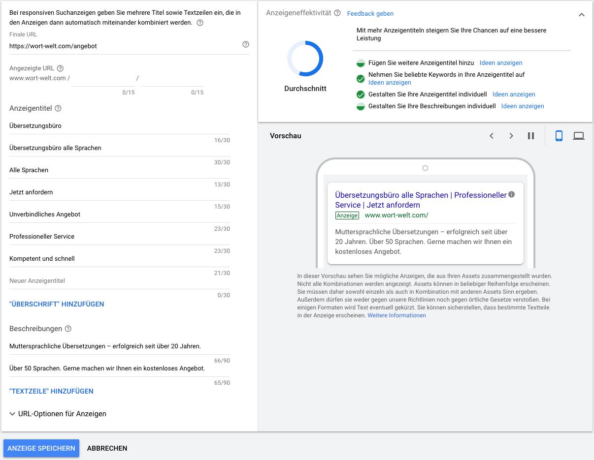 Titel Textzeile responsive Suchanzeigen Google