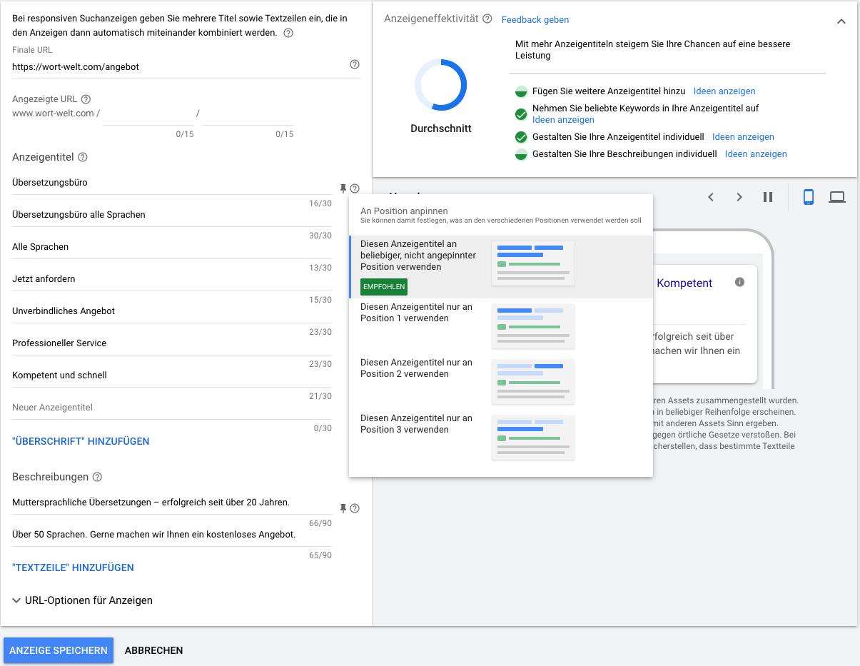 Titelposition festlegen responsive Suchanzeigen Google