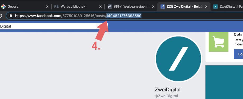 Facebookbeitrag Nummer in der URL
