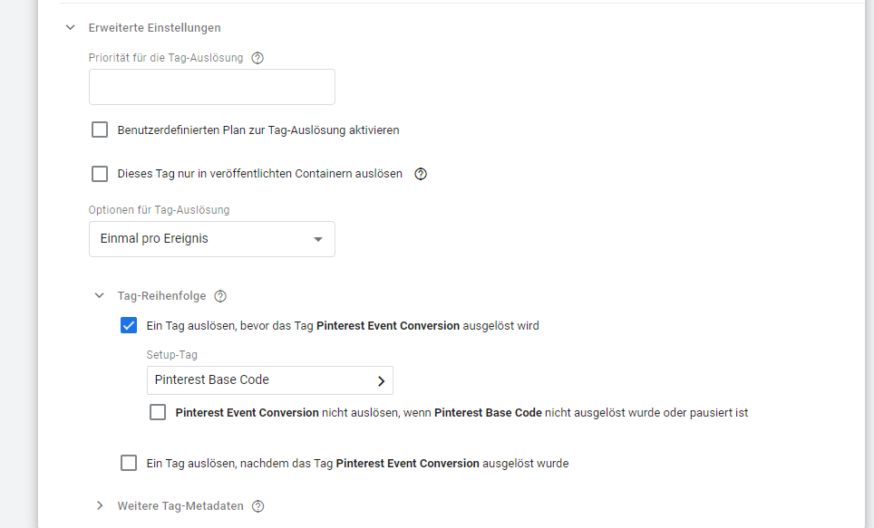 pinterest tracking google tag manager 3