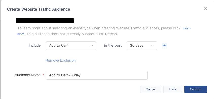 Create Website Traffic Audience