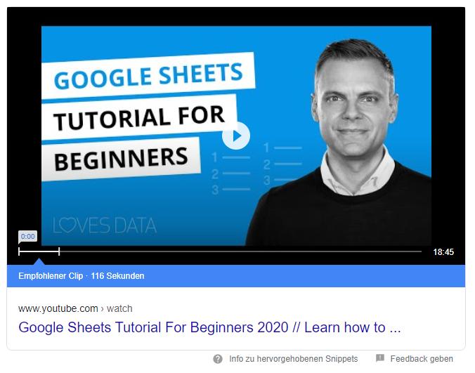 Video Snippet Beispiel Google Sheets Tutorial