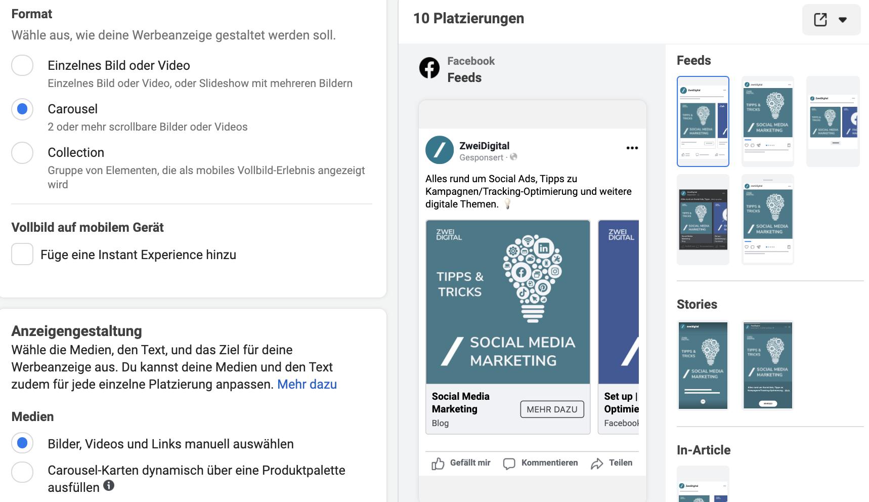 facebook anzeigen formate