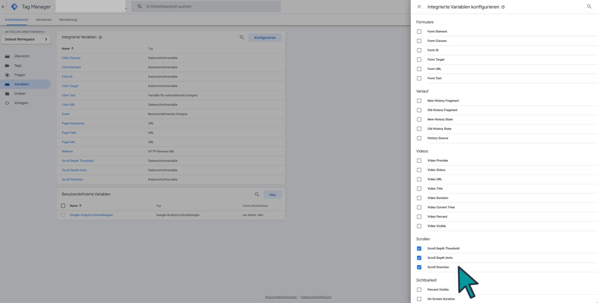 Google Tag Manager Trigger ScrollTracking