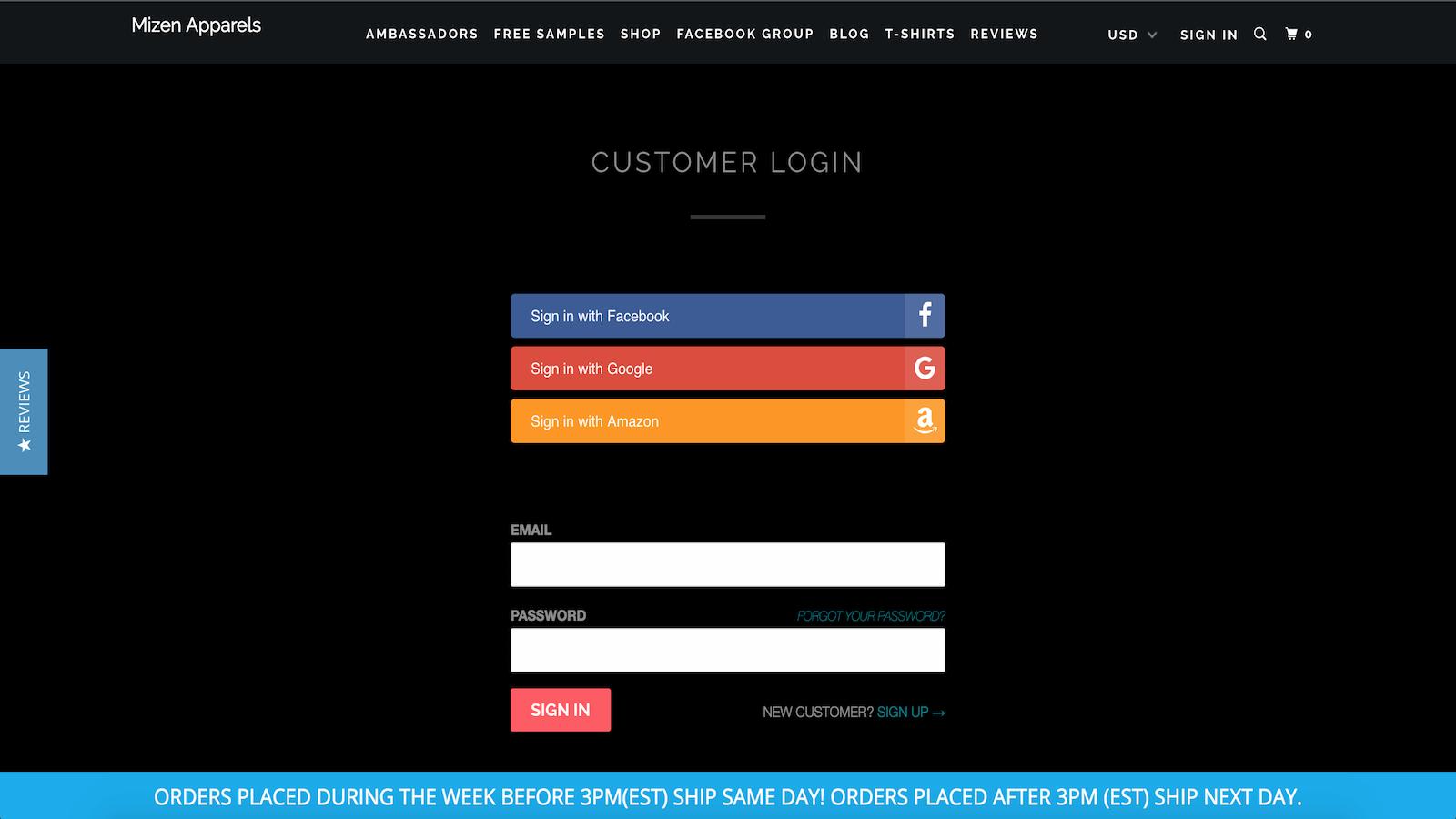 Oxi Social Login Shopify App