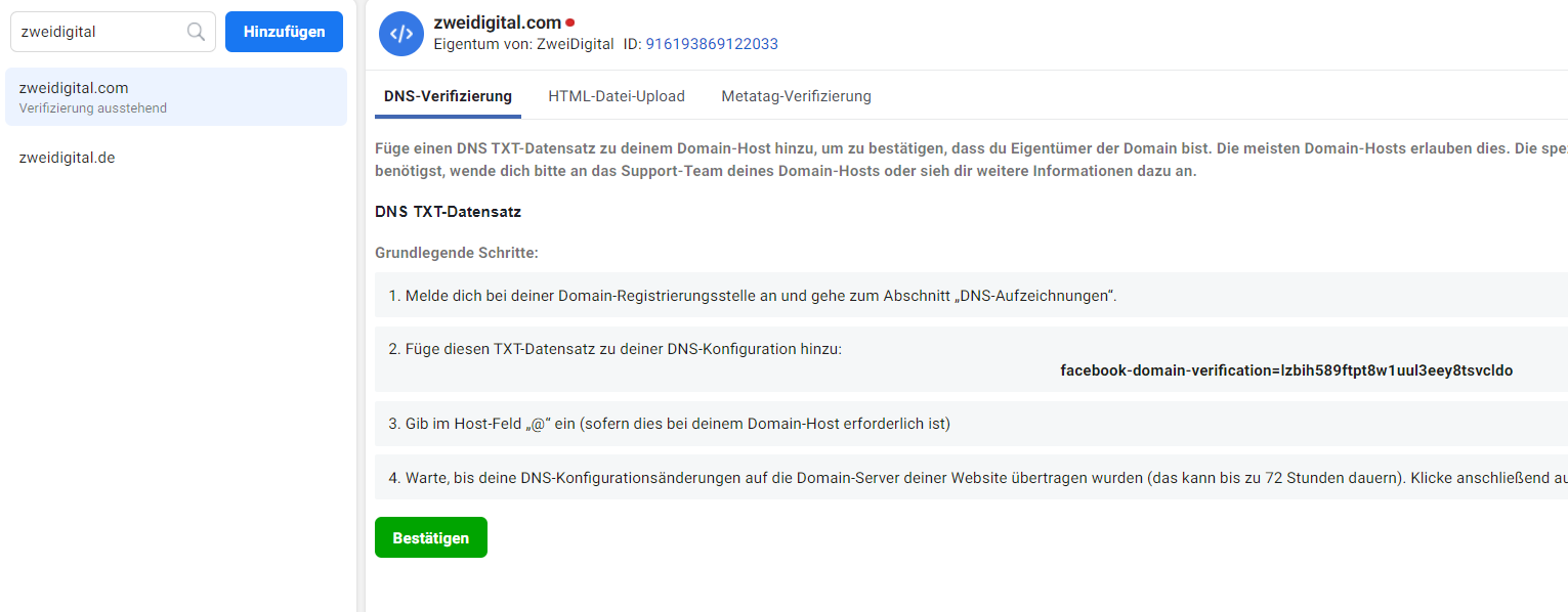facebook domain verifizieren dns html meta tag