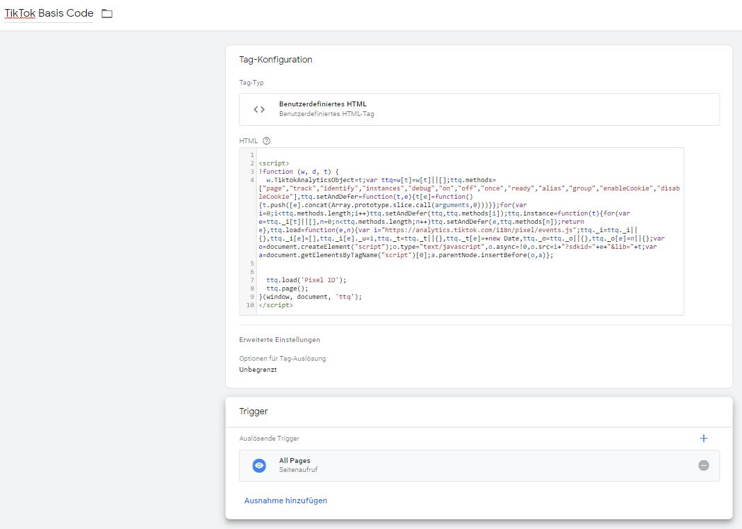 tiktok pixel code tag manager