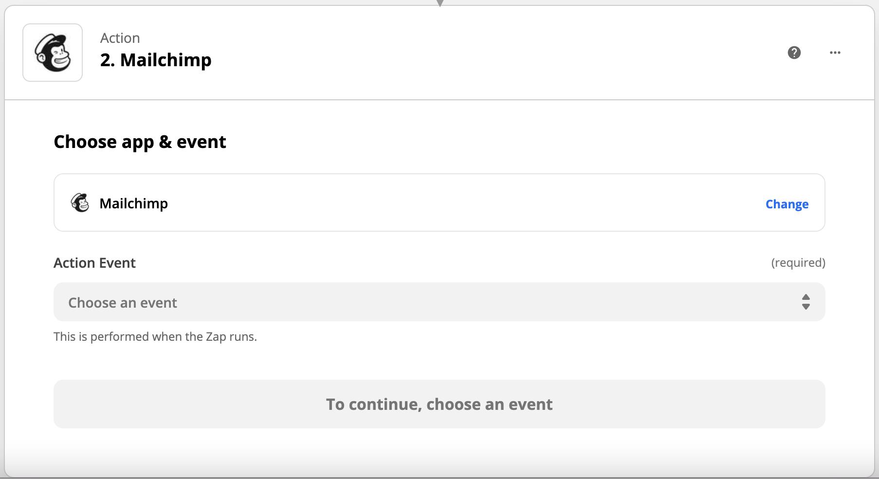 zapier mailchimp chose an event